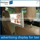 "7"" taxi headrest small video advertising screen, bracket mounted in-car multi-function display,car seat LCD screen"