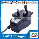 8.4v li-ion battery charger 1a for 2s battery pack charger with EU US UK SAA plug YJP-084100