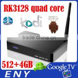 Cheapest RK3128 quad core cortexA7 Mali400 802.11b/g/n wifi 512+4GB KODI Full HD1080p ir remote control Internet TV Set Top Box