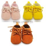 A-bomb Factory Directly Sale Baby Girl Baby Boy Seams Double-suede Soft Sole Shoes Infant Prewalker Sneakers with Shoelace