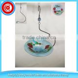 Xiamen export hand craft ceramic round dish hanging bird feeder