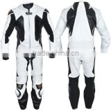 Leather Motor Bike Racing Suit White And Black Contrast