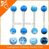 wholesale cheap tongue piercings jewelry free sample blue acrylic skull and lizard tongue rings