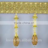 polyester beads fringe trim for curtain accessories,sequin beaded fringe