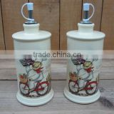 wholesale new chef design ceramic oil and vinegar bottle set