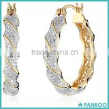 18k Yellow Gold-Plated Two-Tone Zircon Accent Twisted Bulk Hoop Earrings Wholesale