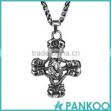 Non-mainstream fashion classic retro punk skull shape stainless steel cross necklace pendant