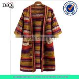 Batwing Sleeve Multicolor Strip Casual Cardigan Outcoat