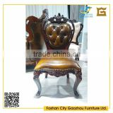 Antique style wood carved leather dining room chair home furniture dining chair with tufted back