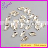 S shaped glass sew on rhinestone beaded appliques wholesale
