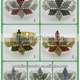 Wholesale 1 DZ(12 pieces)fashion star shape silver plating rhinestone charm bracelet-SB0003