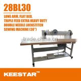 28BL-30 flat bed double needle triple feeding long arm keestar industrial sewing machine