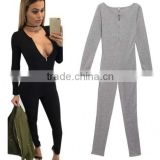 Wholesale Adult Black Gray Casual Party Club Sexy Long Sleeve V-Neck Bodycon Bandage Jumpsuits Woman Full-Length Pencil Rompers