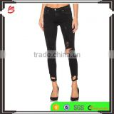 Best slim fit black denim ladies ripped jeans for women hot sale women jeans