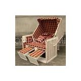 Contemporary Leisure Wood And Resin Wicker Roofed Beach Chair & Strandkorb