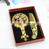 Gold Handle Mirror,Compact Mirrors Wholesale,Wedding Gift Pocket Mirror with Comb,Cheap Cosmetic Mirror