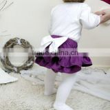 The newest design for baby girl ruffle raglan elastic tutu divided skirt with big bowknot plain color adorable pants