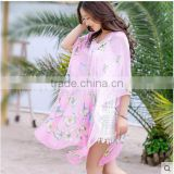 2016 new coming floral pareo fashion flower beach towel scarf
