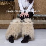 Beige Mongolian Lamb Fur Leg Warmers Boot Covers from China