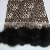 Silk Pashmina wool Animal prints pashmina shawls with fur ball