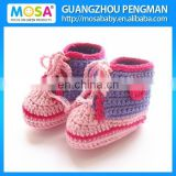 Crochet Newborn Girl Ankle Boots Sport Shoes Knitted Boots Pink and Lavender