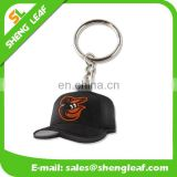 Custom cap shaped 3D logo soft pvc rubber keychain