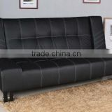 Modern Sofa Sleeper Handy Living Futon Sofa Bed in Black Leather