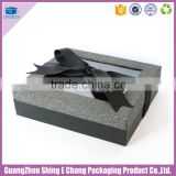 Luxury iron-gray paper printed gift box packaging,window paper gift box,ribbon paper gift box
