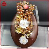 Fashion spring feeling wire wrap natural stone oval onyx agate slice & shell flower crystal beads brooch or pendant jewelry