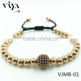 Newest Fashion unzex wrap rope beads bracelet with Stainless Steel Bead Bracelet 7""