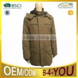 Mens padded parka long Jacket detatchable padded hood with real fur hood