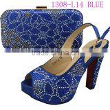 1308-L14 blue New arrival 2015 shoes and bag to match set the lastest design high heel shoes platform comfortable for walking