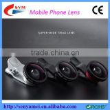 New Arrival Mobile Phone Camera Lens cover Fisheye Lens , 3 in 1 Zoom Lens for Mobile Phone