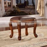Manufacturers selling brown leather footstool wooden dressing stool