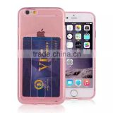 Ultraslim clear TPU crystal case with card slot for Apple iPhone 6 and 6+,card holder cover for mobile