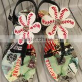 Baseball Softball Flower Sandals T Strap Shoes