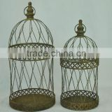 14A389MCE Rustic gold metal wire bird cages, cage for plants stand