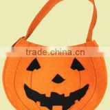 ECO-friendly Halloween cute smile pumpkin felt bag for party