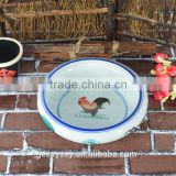 Chinese Kitchenwares Ceramic Rooster Fish Mixing Bowl Set