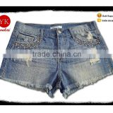 hot sale funky summer new jeans damaged fringed shorts with lace denim girls shorts pants women