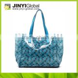 2014 New design tote flower pattern beach bags, beauty handbag Flower handbag fashion tote bags shopping tote bag pvc tote bag