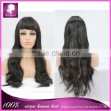 Beautiful color wig full machine made synthetic wig in natural black with full bang