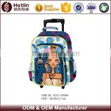 Shoulder schoolbags with wheels ,teenager trolley bag for school girl