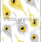 Feather water transfer customized gold tattoo supply, metallic temporary tattoo sticker