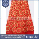 Red background metallic yarn african lace fabric stiff breathable mesh lace fabric sheer sexy wear net lace fabric