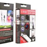Different colors universal 3 in 1 camera lens 0.67x wide angle+macro+fish eye for cell phone/ip/pad/notebook PC for gift