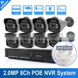 1080P 8 Channel CCTV System With 8PCS Outdoor Weatherproof P2P CCTV Array Leds Nightvision 2.0MP POE IP Camera NVR Kits