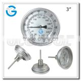 "High quality all stainless steel industrial 3"" bi-metal back mount thermometer 0-250"