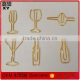 Hight Quality custom logo shinny gold wine glass shape paper clip for wine