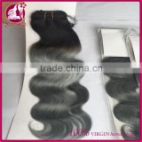 Wholesale virgin indian body wave hair bundle extension in dubai 1b silver two tone hair weave